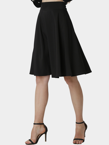 Black Midi Skater Skirt with Ruffled Hem