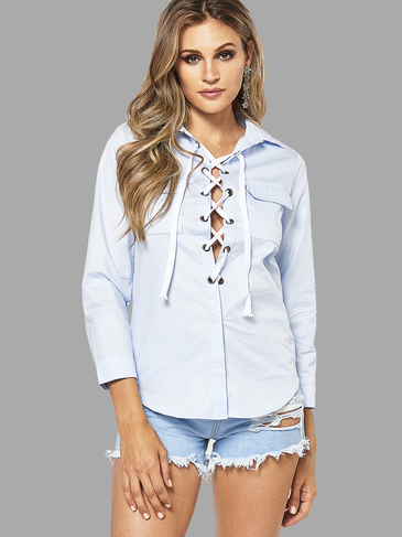 Blue Lapel Collar Lace-up Design Shirt