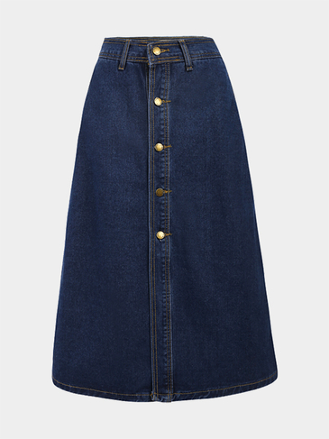 High Waist Button A-line Denim Skirt
