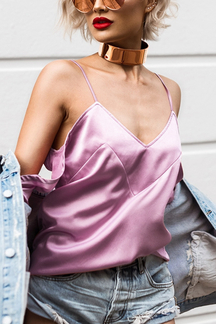 Sexy Cold Shoulder Strappy Top In Pink