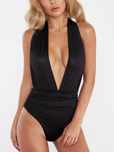 Black Deep V-neck Sleeveless Backless Design Swimwear