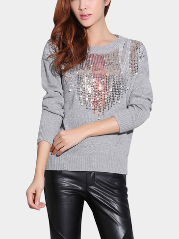 Grey Knitted Jumper with Sequin Details