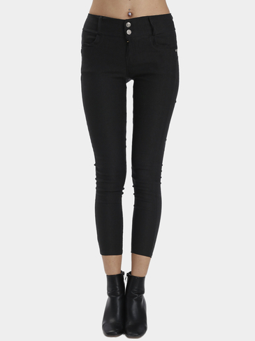 Black Bodycon Botton Closure Leggings Mode