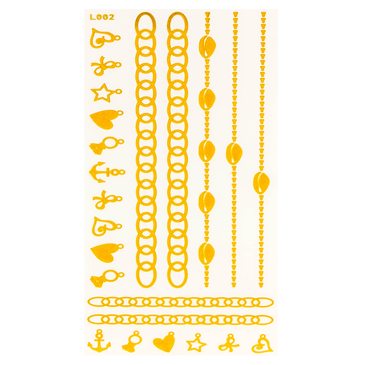 Chains and Mixed Patten Metallic Temporary Body Tattoo Sticker
