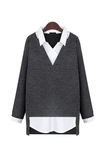 Grey Plus Size Shirt In Sweater Top