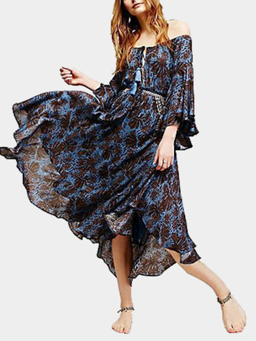 Bohemia Off Shoulder Random Print Pattern Maxi Dress for Beach