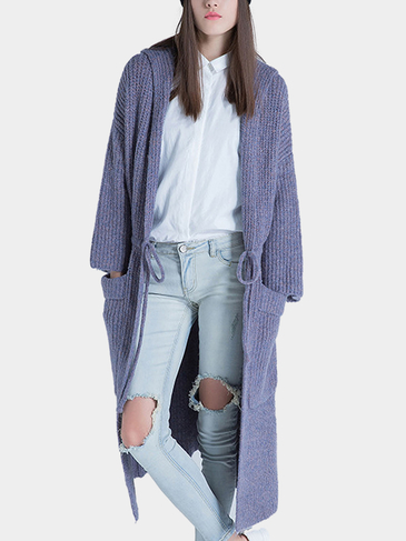 Knitted Hooded Cardigan with Drawstring Waist in Purple