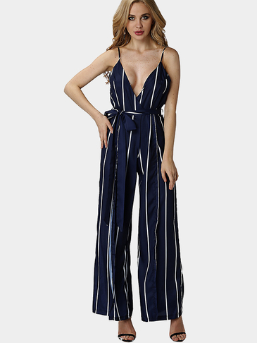 See Through Stripe Pattern Sleveless V-neck High Waist Wide Leg Trousers Jumpsuit