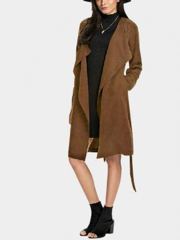 Coffee Lightweight Lapel Collar Tie Waist Trench Coat