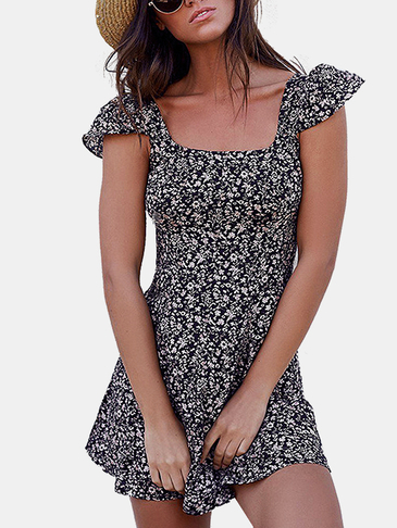Navy Lace-up Design Randon Floral Print Mini Dress