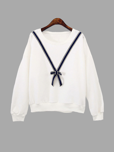 White Loose Fit Knot Pattern Front Sweatshirt