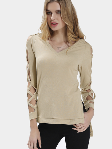 Beige Long Sleeves V-neck Hollow Top with Splited Hem