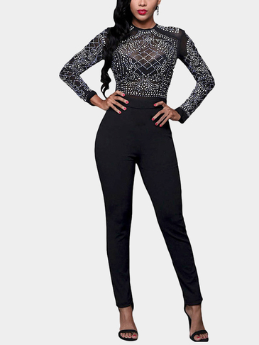 Black Sheer-through Hot Fix Long Sleeves Bodycon Jumpsuit