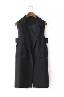 Black Longline Gilet with Side Cut Details