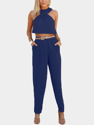 Dark Blue Sleeveless High Waist Halter Co-ord