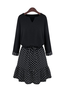 Plus Size Two-in-one Dress with Polka Dot