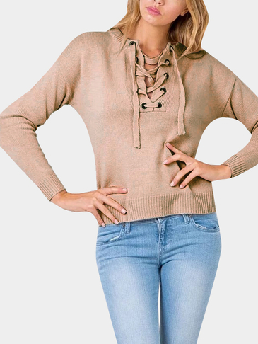 Khaki Tie Front Jumper With Crossing Strap
