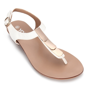 Whtie Gold-tone Hardware Toe Post Flat Sandals