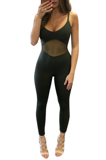 Black Sexy Sheer-through Lace Stitching Cami Jumpsuit