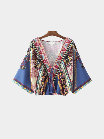 Folk Print V-neck Top