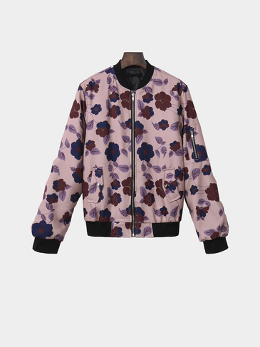 Random Floral Print Fashion Mutil Color Long Sleeves Bomber Jacket