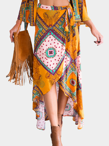 Yellow Tribal Print High Waist Maxi Skirt