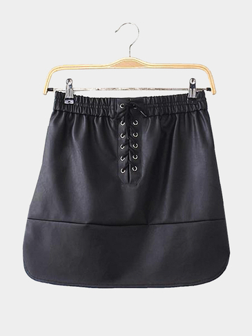 Black A-line Mini Skirt With Front Lace-up Details