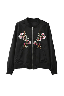 Standing Collar Embroidery Pattern Pocket Zipper Front Bomber Jacket