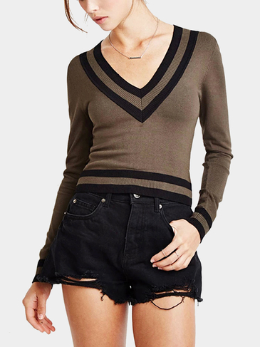 Dark Khaki Stripe V-neck Simple Jumper
