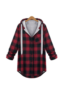 Plus Size Long Sleeve Red Checked Top