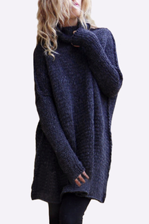Navy Blue High Neck Pullover Loose Jumper