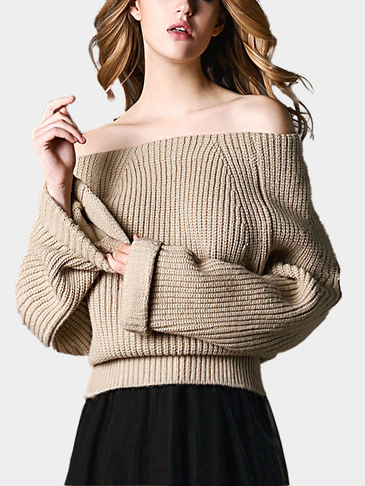 Apricot Off Shoulder Pullover Knit Sweater
