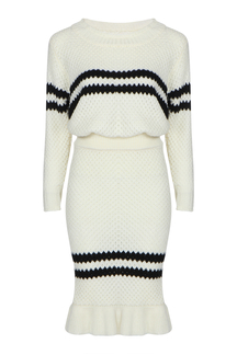 Stripe Pattern Pullover Design Long Sleeve Skirt Co-ord