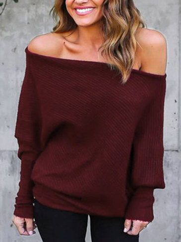 Lightweight Off Shoulder Dolman Sleeve Loose Jumper In Burgundy