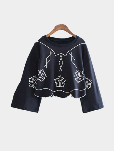 Loose Irregular Hem Embroidery Design Crop Sweatshirt