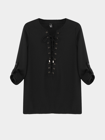 Black Blue Lace-up Blouse