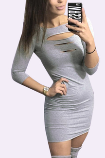 Ladder Cutout Front Bodycon Mini Dress in Grey