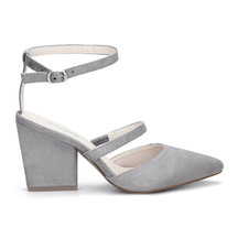Grey Pointed Toe Single Strap Over Ladies Heels