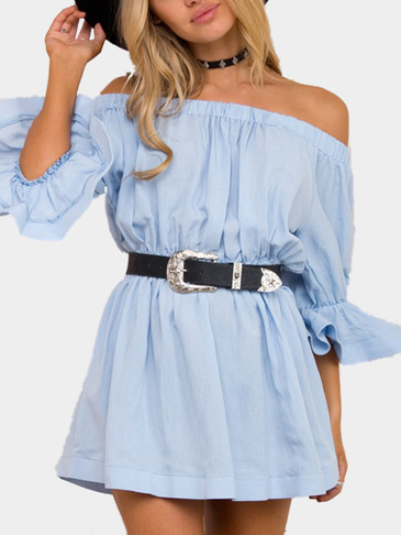 Blue Sexy Off-Shoulder Flipped Mini Dress