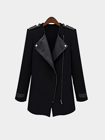 Black Zipper Fastening Long Sleeves Lapel Trench Coat Outerwear