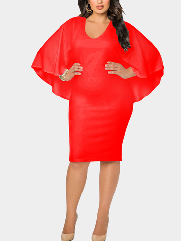 Плюс Размер Red Bat Sleeves Cape Dress