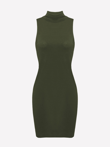 High-necked Sleeveless Bodycon Mini Dress