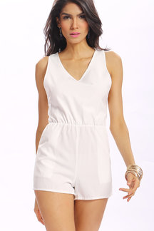 White Simple Style Backless Lace Trim Back V-neck Chiffon Playsuit