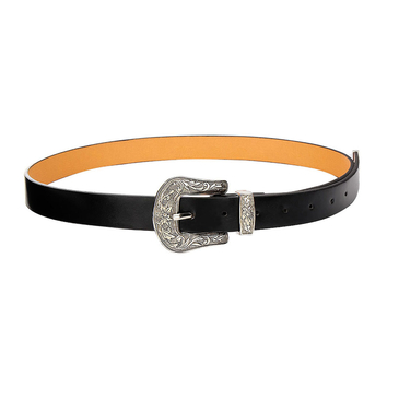 Carving Embellished Skinny Buckle Waist Belt in Black