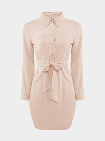 Nude Self Tie Body-Conscious Shirt Dress