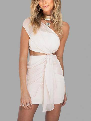 One Shoulder Cut Out Mini Dress with Draping Details