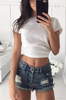 See Through Self-tie Bowknot Open Back Crop Top