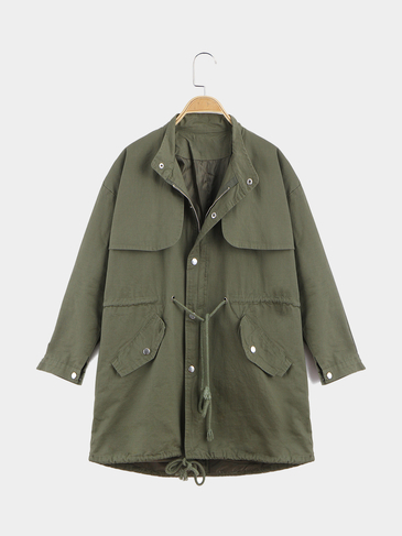 Army Green Loose Fit Trench Coat With Drawstring Waist