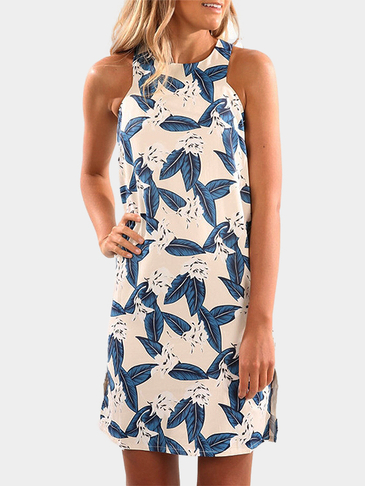 Simple Random Leaves Printing Sleeveless Short Dress