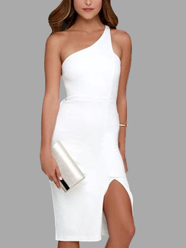 White Fashion One Shoulder Sleeveless Split Hem Midi Dress